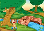 Illustration of a boy crying in a forest -