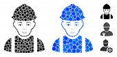 Worker Composition Of Filled Circles In Different Sizes And Color Hues, Based On Worker Icon. Vector poster