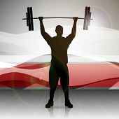 Silhouette of a weight lifter with heavy weight on abstract red wave background. EPS 10.