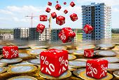 Discounts On The Purchase Of Apartments In New Buildings. Red Cubes With Discounts (labeled Percenta poster