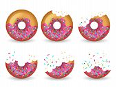 Eating Donut. Delicious Glazed Tasty Cake Half Vector Animation Stages. Illustration Donut Delicious poster
