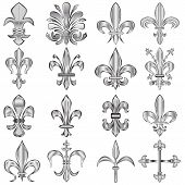 stock photo of fleur de lis  - Vector set of metal Fleur - JPG