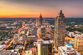 Atlanta, Georgia, USA downtown skyline at dusk. poster