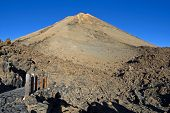 Morning View Of The Teide Volcano In The Canaries, Petrified Lava, Lava Valley, Natural Background, poster
