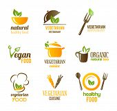 stock photo of vegan  - Vegetarian Food Icons - JPG