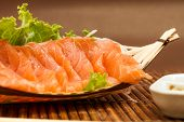 Sliced raw fatty  Salmon sashimi
