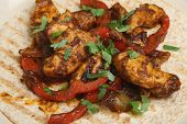 Chicken tikka curry chapatti open wrap