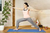 stock photo of virabhadrasana  - An image of a pretty woman doing yoga at home  - JPG