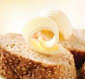 Butter on a Slice of Bread. Butter Rolls. Healthy Breakfast
