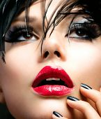 Fashion Art Girl Portrait. Vivid Makeup. Punk Style Make-up. Black Nails Manicure, Smoky Eyes and Re