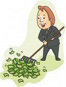 Illustration of a Businessman Raking Heaps of Money