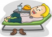 Illustration of a Male Laborer relaxing on a lounge chair