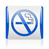 no smoking blue square web glossy icon
