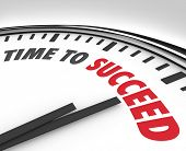 The words Time to Succeed on a white clock face to inspire or motivate you to achieve a goal or impr