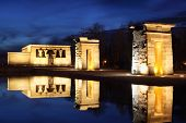 Temple of Debod with illumination. This temple is an ancient Egyptian temple which was rebuilt in Ma