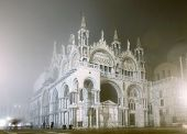 San Marco Cathedral on foggy night, Venice