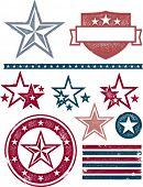 Vintage Patriotic Stars and Stripes Design Elements