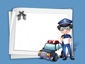 Illustration of a blank stationery with a policeman