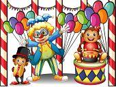 Ilustração de um carnaval com um palhaço e macacos em um fundo branco
