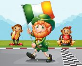 stock photo of ape-man  - Illustration of a man walking at the road holding the flag of Ireland - JPG