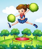 Illustration of a cheerleader with her green pompoms