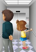 Illustration of an elevator with a man and a young girl