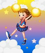 Illustration of an energetic cheerleader with yellow pompoms