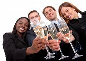 stock photo of office party  - business team at a party over a white background  - JPG