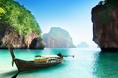 boat on beach of island in Krabi Province, Thailand