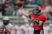 VIENNA, AUSTRIA - JUNE 9: QB Robert Darvas (#18 Wolves) passes the ball on June 9, 2012 in Vienna, A
