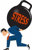 stock photo of stress relief  - Depressed man carrying a heavy load of stress in a form of a huge kettle bell weight - JPG