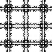 Black and white elegant lattice in victorian style seamless pattern, vector
