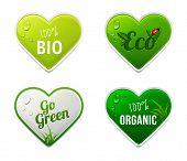 Set Of Bio, Eco, Organic Heart Sticker Elements