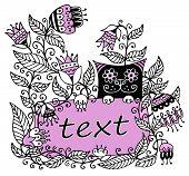 Illustratie van de bloemen met een roze frame voor tekst en een kat