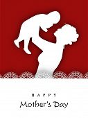 White silhouette of a mother and her child on maroon background.