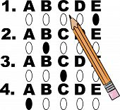 Multiple Choice Test With Pencil.
