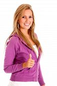 pic of thumbs-up  - casual woman smiling with thumb up  - JPG
