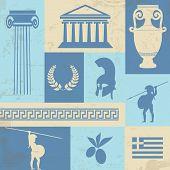 Grecia símbolos y señales en cartel Retro