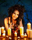 picture of witch ball  - Young woman  with crystal ball - JPG