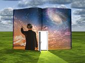 stock photo of storybook  - Book with science fiction scene and open doorway of light - JPG