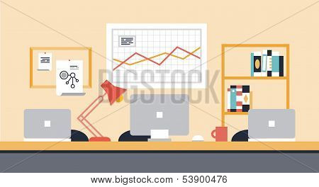 Collaboration Workspace Office Illustration poster