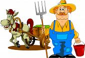 foto of farmer  - merry mustachioed farmer with a pitchfork and bucket - JPG
