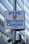 NYPD security camera sign placed near World Trade Center site in Lower Manhattan