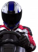pic of armor suit  - Racer in a tinted helmet and red racing suit - JPG