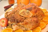 stock photo of indian apple  - ThanksGiving Turkey with Orange Slices - JPG