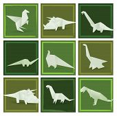 pic of apatosaurus  - Vector illustration of green origami various dinosaurs - JPG