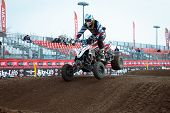 Quad Bike Race At Eicma 2013 In Milan, Italy