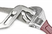 picture of adjustable-spanner  - Wrench and adjustable spanner isolated on white background  - JPG