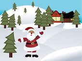 Santa in a rural area with house