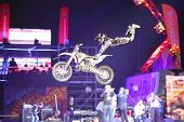 MOSCOW - MAR 02: Jump on a motorcycle with acrobatic elements on the festival extreme sports Breakth